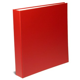 "Red 1.5"" oversized binder shown closed"
