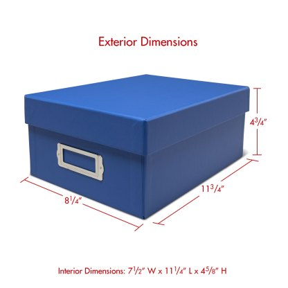 Blue photo storage box with dimensions