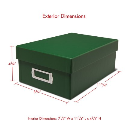 Green photo storage box with dimensions