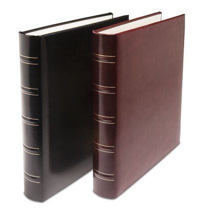 Black and maroon Gold spine albums