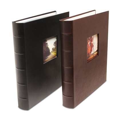 Gallery leather matte black and brown albums