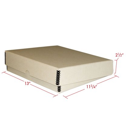 Tan metal edge box binder closed with dimensions