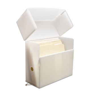 White Poly Corrugated Document Case- opened