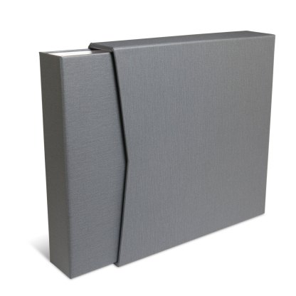 Gray oversized album shown inside slipcase