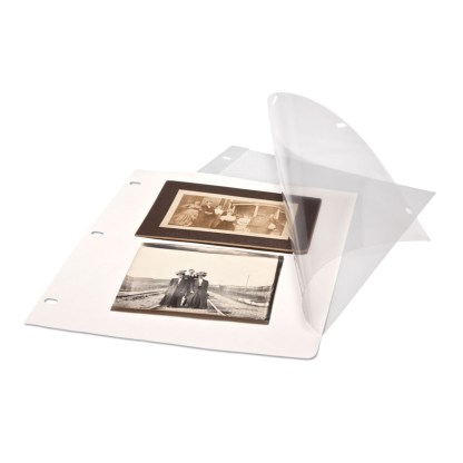Polyester page protector with white insert