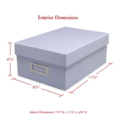 Light blue photo box, closed with dimensions