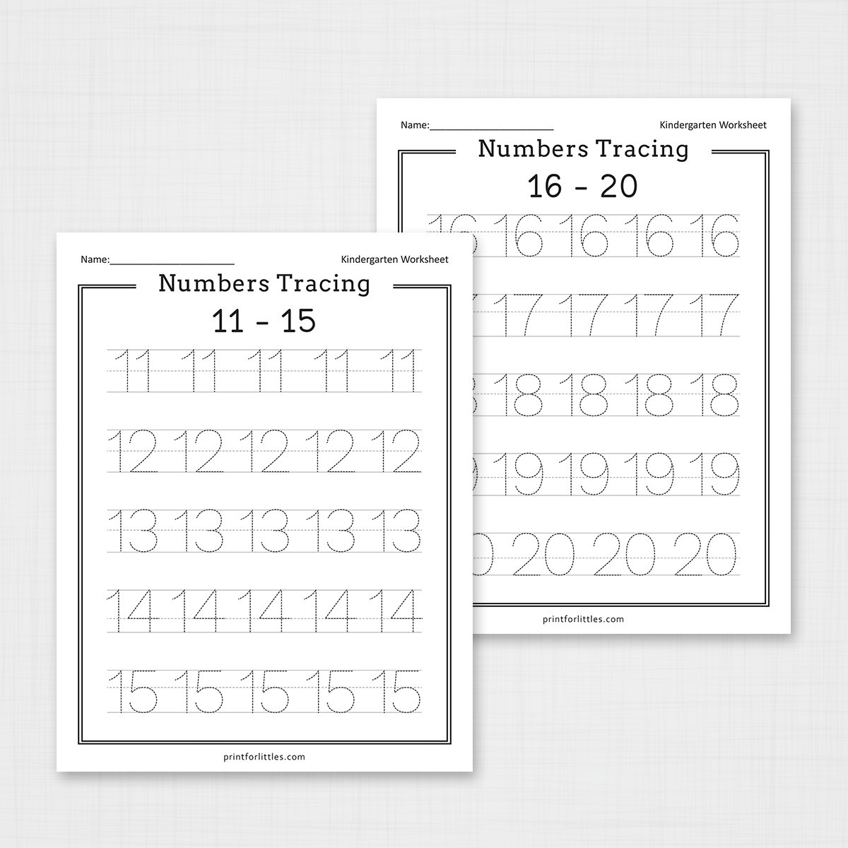 Numbers 1 20 Tracing Worksheets