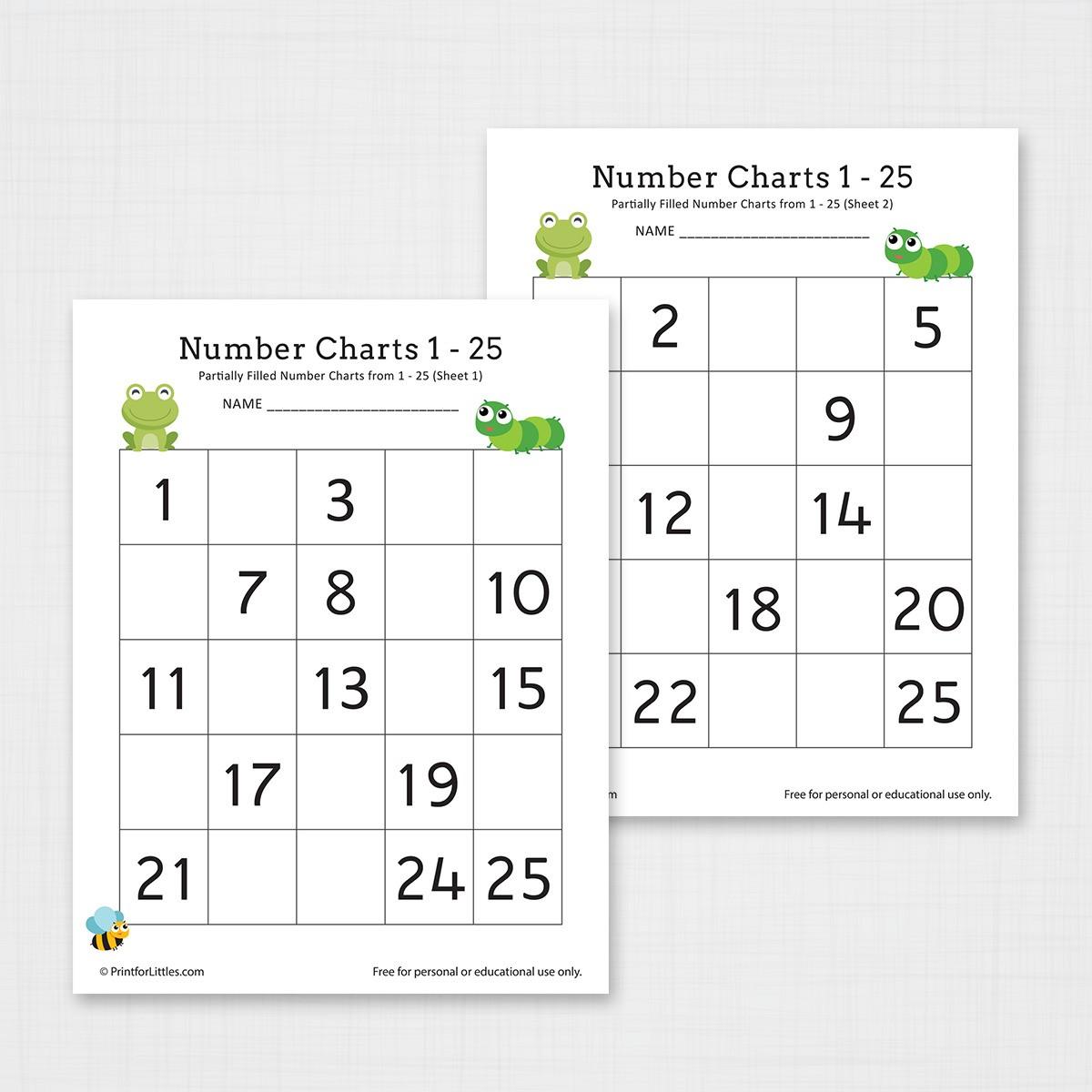 Missing Number Chart 1 25 Worksheets For Kindergarten