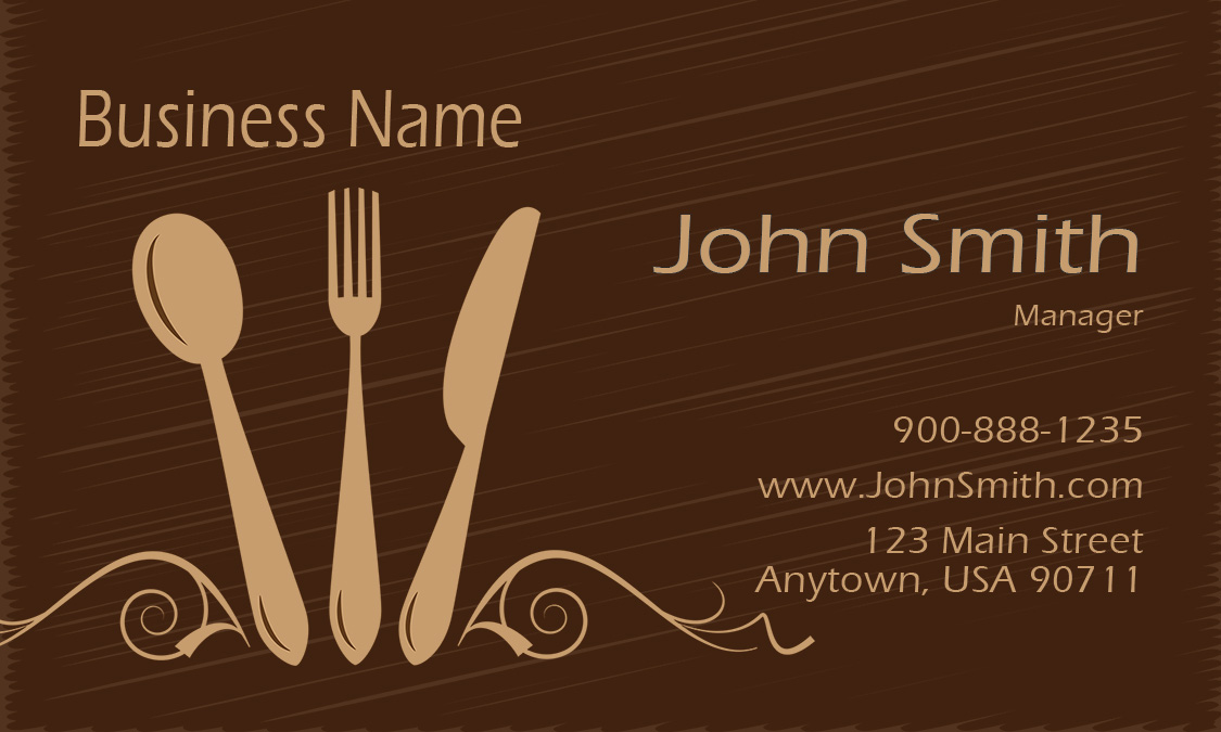 Silverware Restaurant Business Card Design 1001121