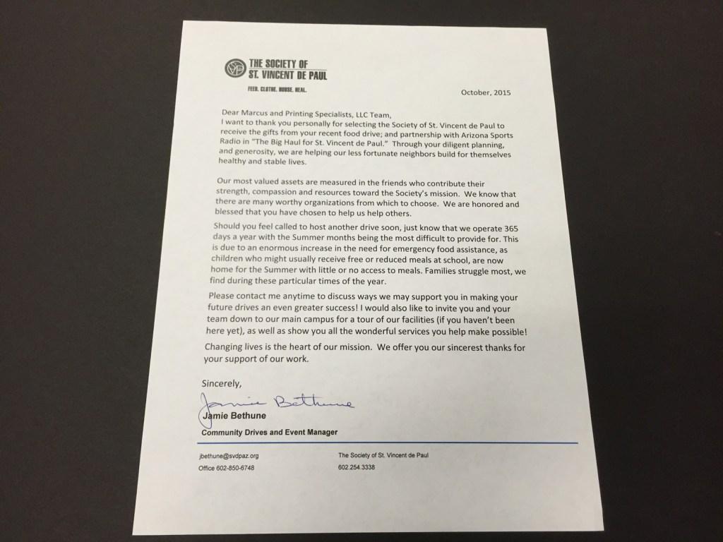 Letter from St. Vincent De Paul received October 2015.
