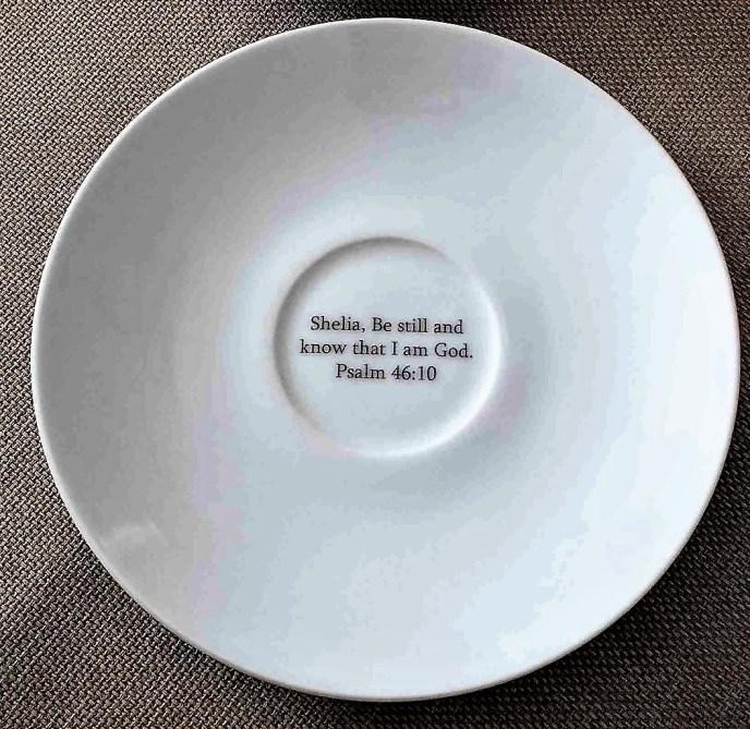 Custom Printed Bilbe Verse on Cup & Saucer