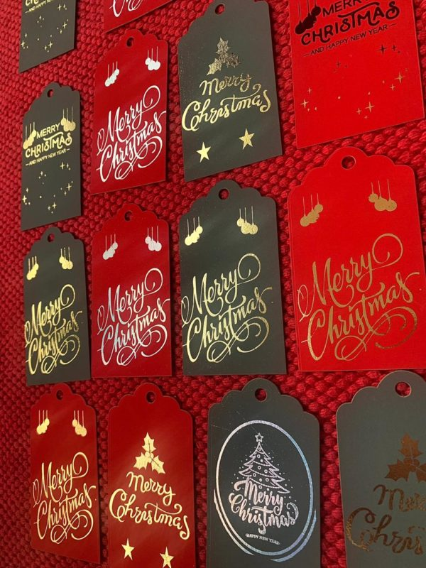 FOILED TAGS on COLOURED PAPER