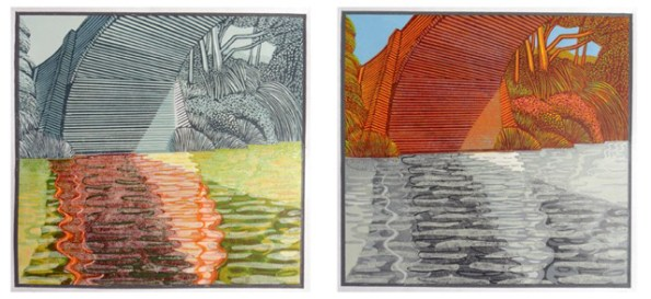Eric Gaskell, No 52 Morning, Diptych, Reduction linocut and block print, 2015