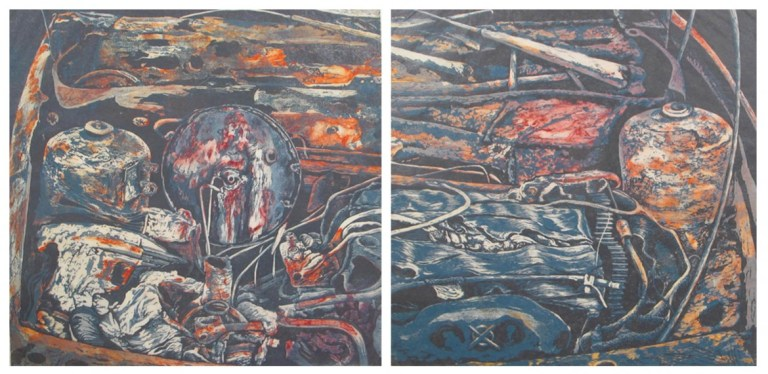 Eleanor Durbin, After the Fire, Diptych, Etching and linocut, 2004