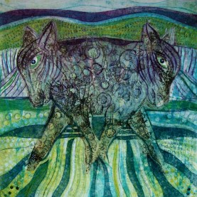 Ruth Barrett-Danes, Pulling Together 50:50, Version 2, Drypoint, Collagraph, Chine Colle, Monoprint, 2015
