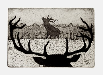 Tim Southall, The Rivals, Etching and aquatint, 2012