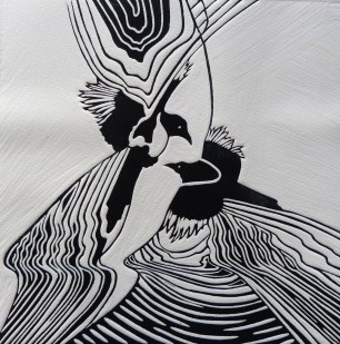 Annette Elizabeth Sykes, Yours and Mine, Linocut, 2015