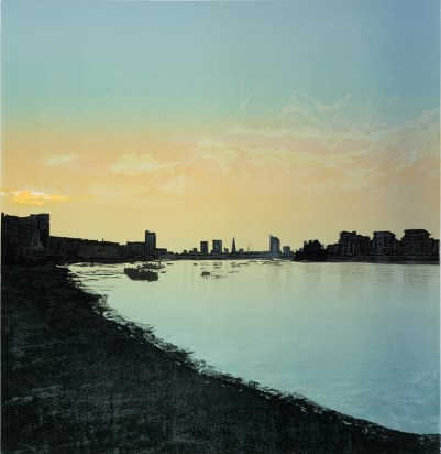 Steve Edwards, Greenwich Pier West, Lino etched and cut