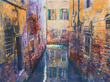 Pam Hare, Sunken Palaces, Screenprint and mixed media