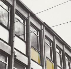 Claire Hynds, Stevenage No 2, Screenprint, chine collé and stitch