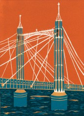 Jenny Ing, Albert Bridge, Reduction linocut