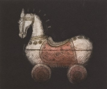 Glynis Porter, Wooden Horse, Hand coloured etching