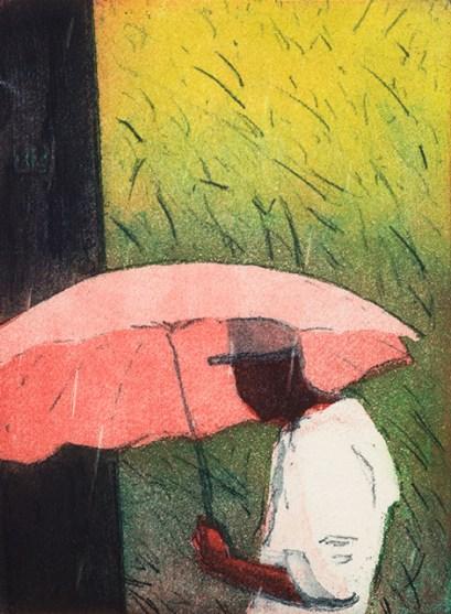 Robert Pugh, Pink Umbrella, Multi plate etching