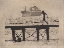 Despina Symeou, Walking the Pier, Solar plate etch
