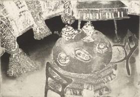 Fouzia Zafar, Tea Circles, Etching