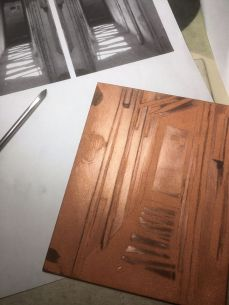 Mezzotint in progress - Christine Watson