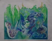 Pauline Bradley 'In deep but still floating' drypoint/woodcut £450