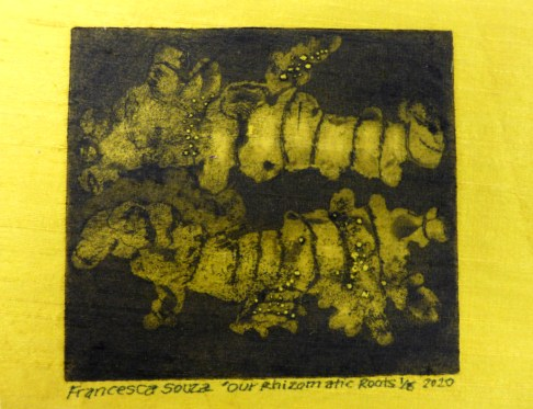 Fransesca Souza 'Our Rhizomatic Roots' etching on raw silk £150