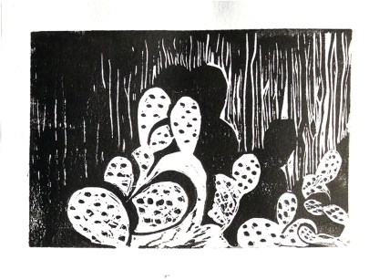 Cacti at Night Diana Kohne linocut withot a press