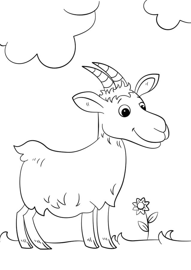 Kolorowanki: Kolorowanki: Koza do druku dla dzieci i dorosłych