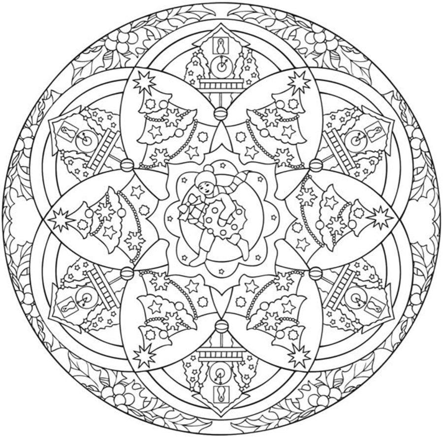Dibujos para colorear: Mandalas Navideñas imprimible