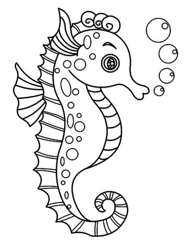 Dibujos Para Colorear Caballito De Mar Imprimible Gratis