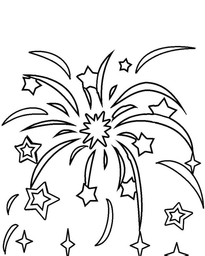 Ausmalbilder: Feuerwerk Ausmalbilder Feiertagen Silvester