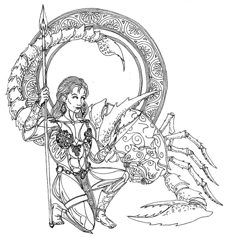 Coloring pages for adults: Zodiac signs, printable, free