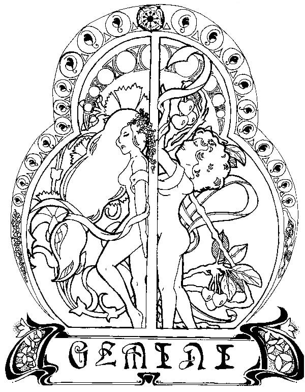 Coloring pages for adults: Zodiac signs, printable, free ...