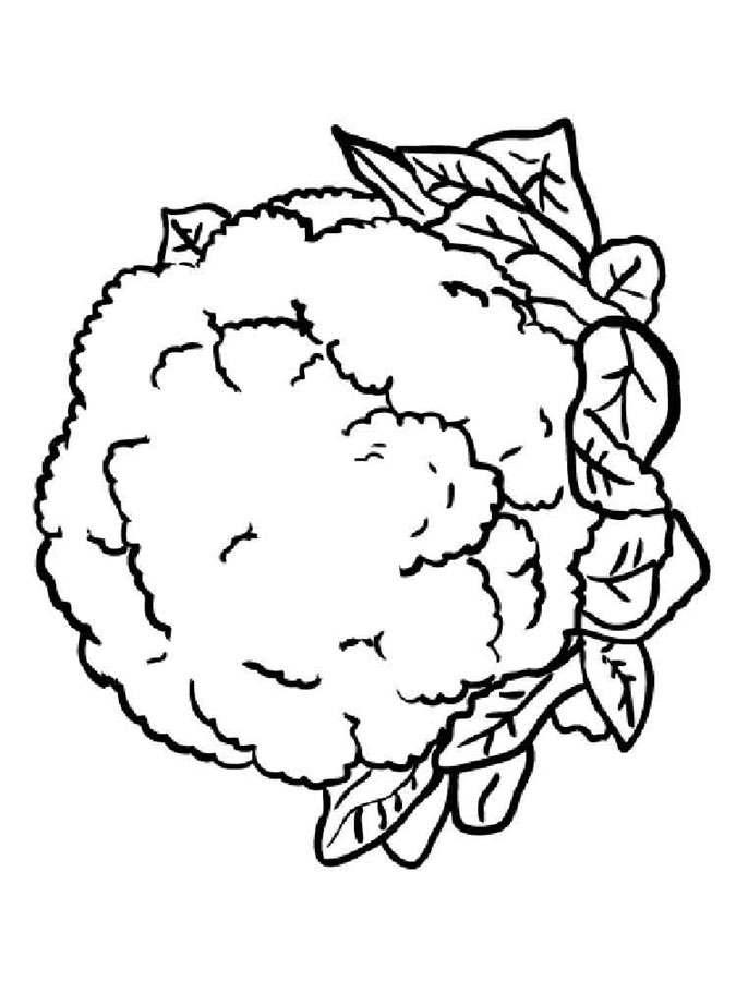 Coloriages: Chou-fleur imprimable, gratuit, pour les