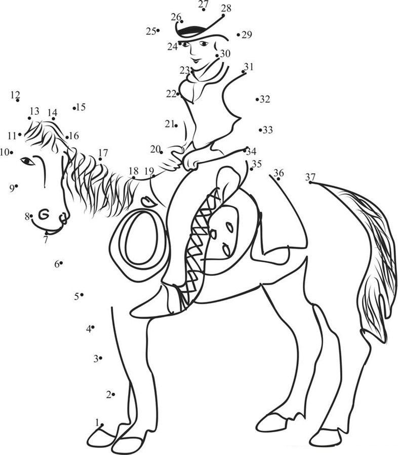 punkt zu punkt cowboy zum ausdrucken kostenlos für