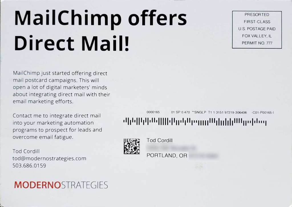 MailChimp postcard back