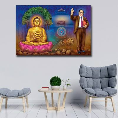 Buddha And Ambedkar Wall Painting