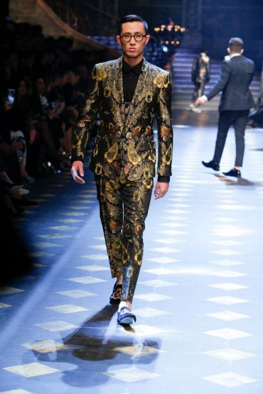 Gold brocade three-piece suit