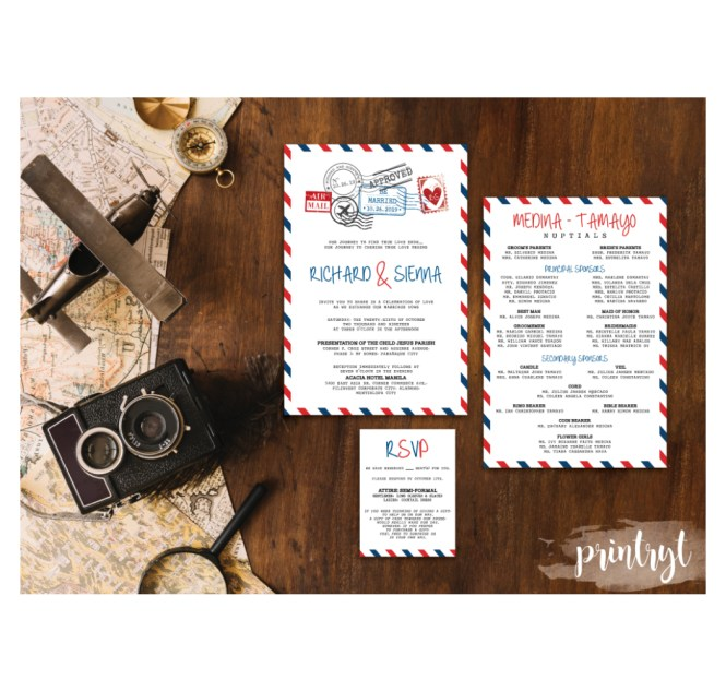Travel Theme Wedding Invitation