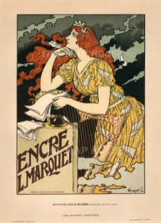 Marquet Ink. Advertisement designed by Eugene Grasset. Known as the Father of Art Nouveau, Grasset's 'Maidens' became emblematic of the style.