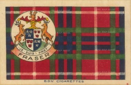 "BDV Tartans: Fraser. 1910. An original silk cigarette card. 7"" x 5"""