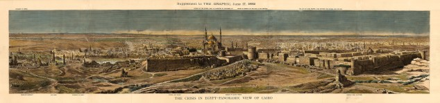 SOLD Panoramic view from the pyramids of Giza to the citadel of Cairo. The Anglo-Egyptian War of 1882 ended with a British victory that expanded the Empire's control over Egypt.
