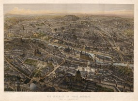 "Jacques Lemercier, 'Vue General de Paris Moderne', c.1836. An original colour lithograph. 20"" x 27"". SOLD."