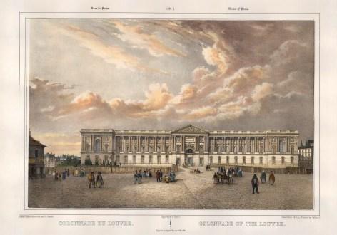"""Benoist: The Louvre, Paris. c1850. A hand coloured original antique lithograph. 18"""" x 12"""". [FRp1507]"""
